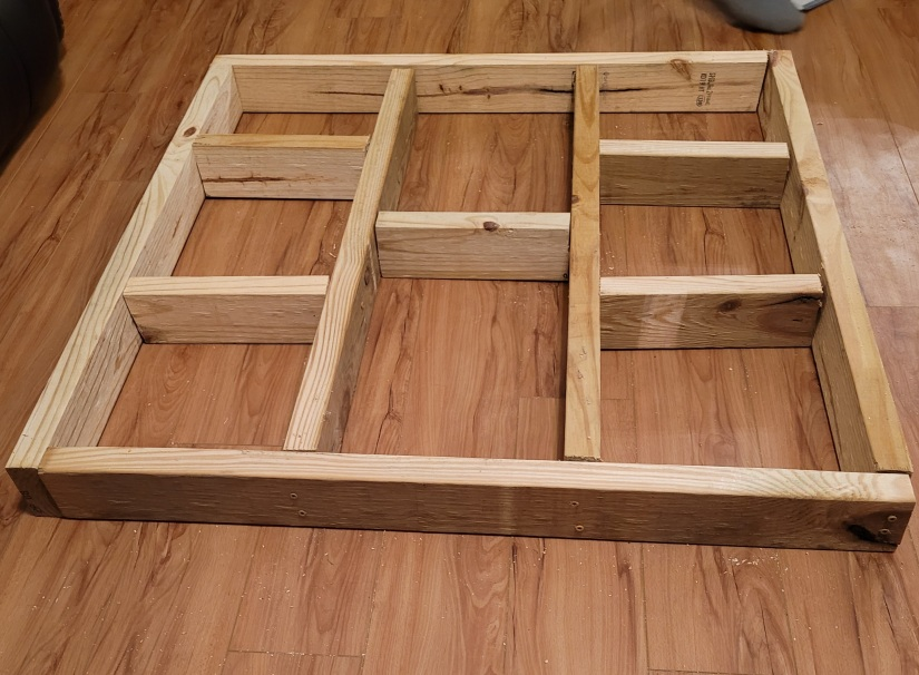 40 inch square platform frame made from 2x4s.
