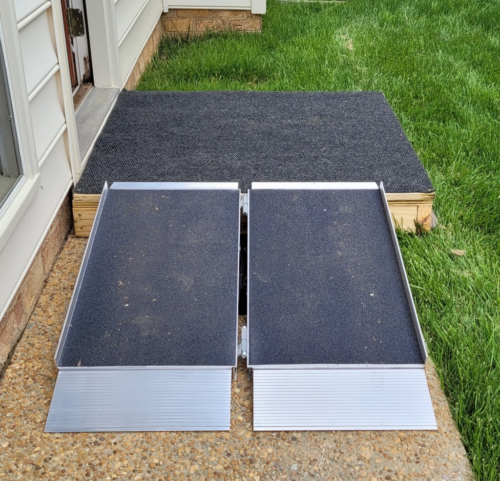 40 inch square platform and suitcase ramp.