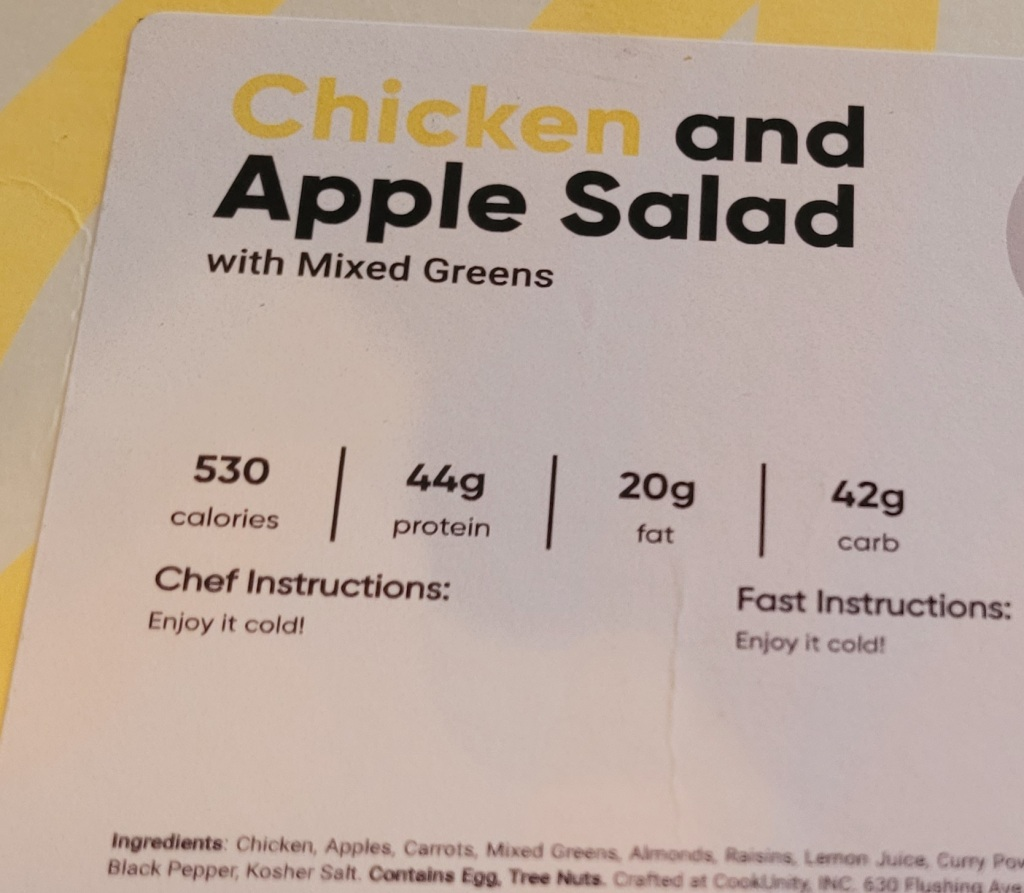 Chicken and Apple Salad meal nutrition and prep information